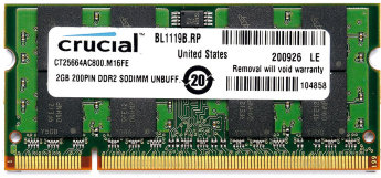 2Gb Crucial SODIMM PC2-6400 800MHz (CT25664AC800)