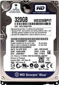 "320 Gb SATA-II 300 Western Digital Scorpio Blue < WD3200BPVT > 2.5"" 5400rpm 8Mb"