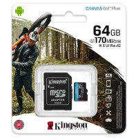 Карта памяти Kingston microSDXC 64Gb Canvas Go Plus UHS-I U3 A2 / SDCG3/64GBSP / 170/70mbs
