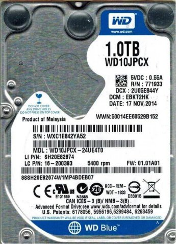 "Жесткий диск 2.5 1Tb Western Digital Blue WD10JPCX 2.5"" 5400rpm 8Mb"