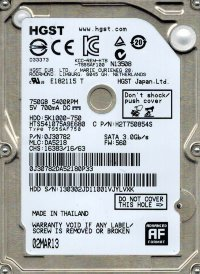 "750 Gb SATA 6Gb / s Hitachi Travelstar 5K1000 < 0S03083 > (RTL) 2.5"" 5400rpm 8Mb < HTS541075A9E680 >"